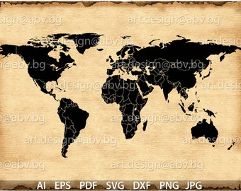 World Map Svg Etsy - Earth map countries