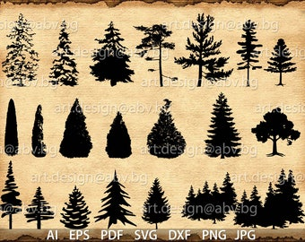 Vector CONIFERS, AI, eps, pdf, svg, dxf, png, jpg Downloads, collection, models library, discount coupons, evergreen