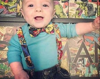 Superhero Suspenders and Bow Tie, Adjustable Neck Strap, Clip On OR Nylon Band, Marvel, Avengers, Comic, Spiderman, Iron Man, Hulk
