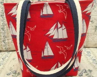 Sailing boats tote-Sail boats bag-Nautical themed bag-Yacht tote bag-Small tote-Red white & blue bag
