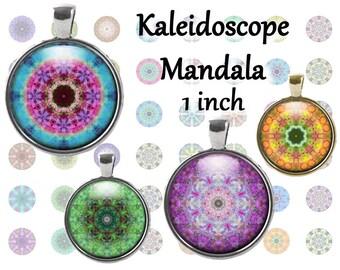 Kaleidoscope Mandalas Bottle Cap Images INSTANT DOWNLOAD 1 inch 25,4 mm digital collage sheet craft supplies, printable digital downloads