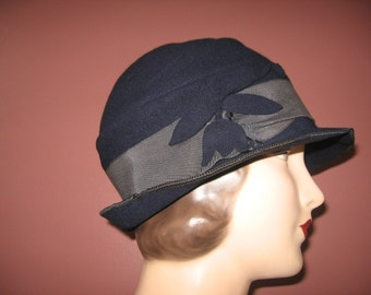 "1920's Navy Felted Wool ""Fedora"" Cloche!"