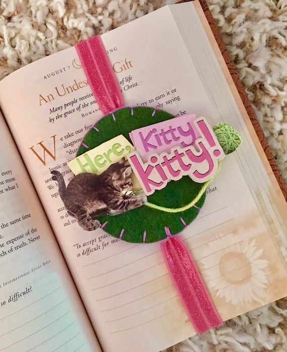 Kitty bookmark, cat bookmark, unique bookmark, gift for reader, kitten, journal elastic, planner band, book accessory, elastic bookmark