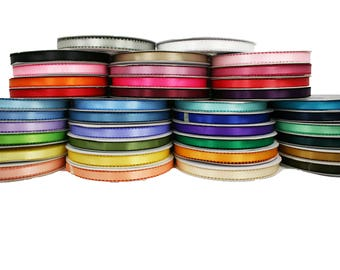 """3/8"""" PICOT Feathered DOUBLE FACE Satin Ribbon 100% Polyester 50 Yards Full Roll"""
