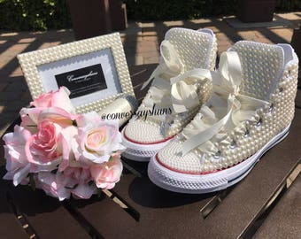 Pearl covered high top Converse