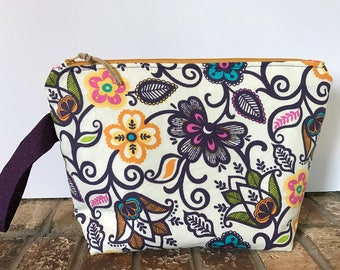 Floral Project Bag, Knitting Project Bag, Project Bag, Crochet Project Bag, Travel Bag, Makeup Bag