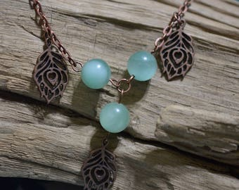 Amazonite and antiqued copper necklace