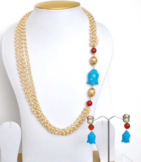 Faux pearl and gold layered necklace with buddha  | Indian necklace |Indian Jewelery | indian pearl haar