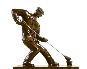 Sculpture of a steelworker from plaster