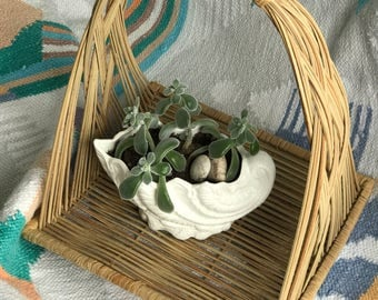 Vintage Cradle Basket with woven/braided sides