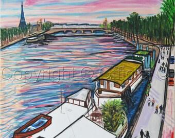 art original painting Paris art painting watercolor  canvas painting modern  watercolor Painting