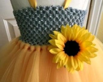 Gray and yellow  tutu dress with sunflower and matching headband, flower girl dress, dress up