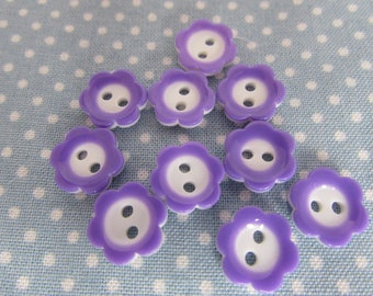 Purple and White Flower Buttons