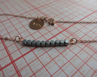 rose gold dainty beaded necklace