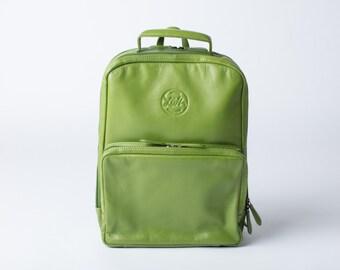 LEATHER BACKPACK (Lime Green) Rucksack Laptop MackBook Backpack Work Bag iPad Luxury