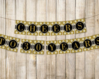 Digital CHEERS TO 30 YEARS Birthday Banner, Retirement Bunting, Gold Women Thirty Birthday, Wedding Anniversary Decor, Diy Instant Download