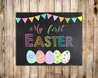 RAINBOW My FIRST EASTER Sign, Printable Chalkboard Spring Photo Prop, Baby First Easter, First Holiday, Digital Instant Download
