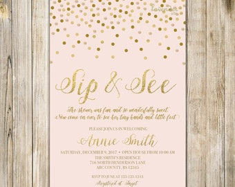 PINK SIP and SEE Invitation, Gold Confetti Pink Sip & See Party Invite, Meet the Baby Open House, Baby Girl Shower, Printable Digital LA20