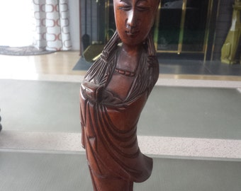 Carved Wood Asian Woman Figurine Cherry Tree Wood Statue Chinese Lady Taiwan Peoples Republic of China