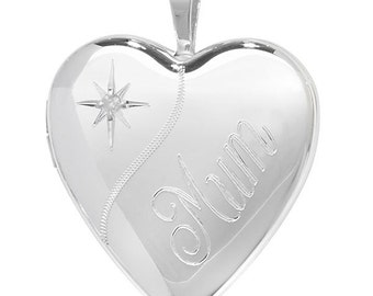 Sterling Silver Mum Heart Locket Mother Jewellery