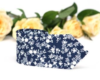 Mens Tie TC097 Navy White Floral necktie Handmade Cotton Men's necktie Boom Bow