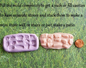 Miniature Stone Path Silicone Mold Cake Tool Fondant Chocolate Candy Polymer Clay DIY Cake Topper Grass Patch Cobble stone Fairy Garden