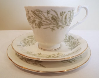 Vintage Teacup and Saucer and Matching Cake Plate. Royal Standard Vintage Trio, Whispering Grass Pattern. Perfect For An Afternoon Tea Party