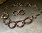 Coiled copper necklace set with matching handmade chain and earrings