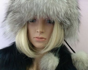 New!Natural,Real Silver Fox Fur HAT!!!