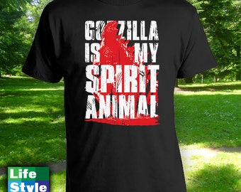 Godzilla Is My Spirit Animal - Novelty T Shirts,Party Shirt,Godzilla Fan,Funny T Shirts, Christmas Gift Idea,kids shirts, Etsy,Tshirt CT-100