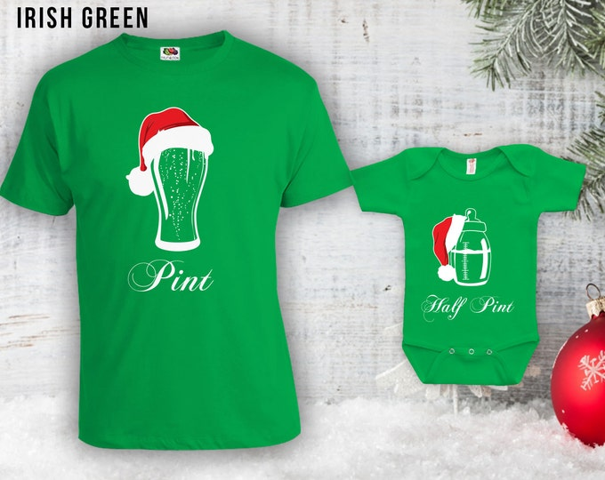 Featured listing image: Pint Half Pint Christmas Matching Shirts - Christmas Matching Outfits, Dad Shirt,Gifts for Dad,Christmas Gifts,Santa Hat Bodysuit CT-821-822