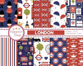 London, London icons, patterns,  , printable digital paper pack.