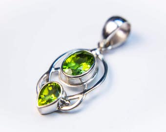 Oval and Pear-Shaped Gemstone Pendant