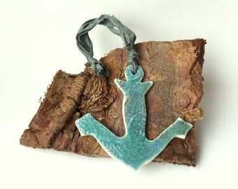 Seaside decor, beach decor, porcelain anchor decoration, sailing gift, turquoise decor, nautical decor, nautical ornament, nautical gift