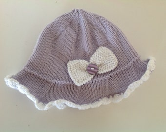 Knitting pattern for Little Mia baby sun hat - PDF - Instant download