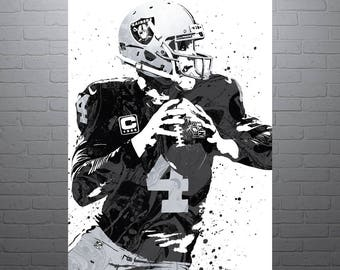 Derek Carr Oakland Raiders Sports Art Print, Football Poster, Kids Decor, Watercolor Contemporary Abstract Drawing Print, Modern Art