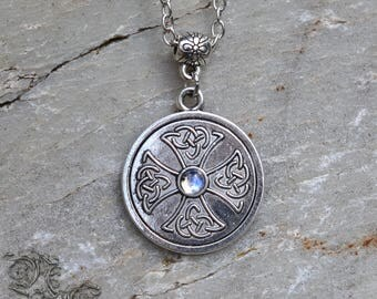 "Necklace "" Søken "" - Moonstone - Medieval , celtic , viking , pagan , gothic"