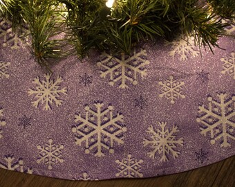 Christmas Tree Skirt-Purple-Amethyst-Snowflake-Snow-Winter-Tree Skirt-Holiday Decor-Christmas Decoration-Purple Christmas Tree Skirt