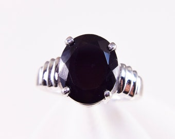 Black Spinel Sterling Silver Ring 5.5ct.