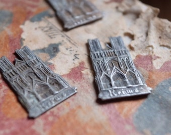 Charming Silver French Charm, Reims Cathedral gothic architecture vintage jewelry & antique jewellery findings supplies collector
