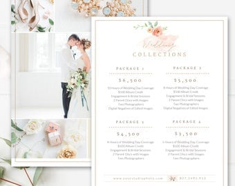 Photography Price List Template Wedding Sheet Photographer Pricing Guide 7x5 PSD