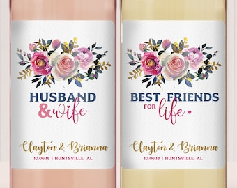 Wedding Gifts for the Bride and Groom - Mr. Mrs. - Newlyweds - Wedding Gift - Wine Set - Personalized Wine - Custom Labels - His Hers Wine