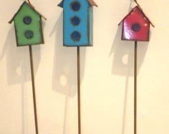 Miniature Fairy Garden Set Of 3 Metal Bird Houses