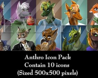 Digital Anthro/Furry/Animal Portrait Icon Pack