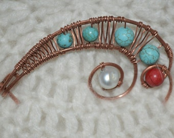 Copper wire Shawl Pin with Turquise stone,Coral and Perl, Scarf Pin, Brooch, Wire Wrapped Pin, Wire Jewelry, FREE SHIPPING