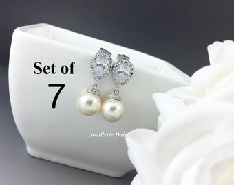 Set of 7 Swarovski Earrings Dangle Earrings Pearl Bridal Earrings Wedding Jewelry CZ Earrings Bridesmaid Gift for Her Ivory Earrings