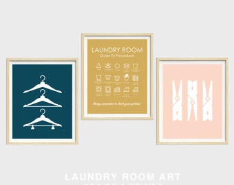 Laundry Prints, Set of 3 Prints, Hangers, Clothes Pins, Laundry Guide, Laundry Symbols Print