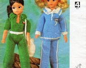 teenage doll knitting pattern pdf Sindy Barbie jumpsuit track suit pant suit dolls clothes fashion dolls outfits 4ply Instant Download