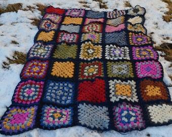 Crochet blanket,Granny Square crocheted blanket,handmade blanket ,100% pure Icelandic wool,handknit baby blanket, camping, throw blankets