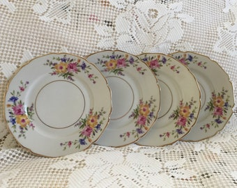Vintage China Bread Dessert Plates, H & C Heinrich, Selb Bavaria Gemany, Lovely Floral Plates, Pink Yellow And Blue Flowers